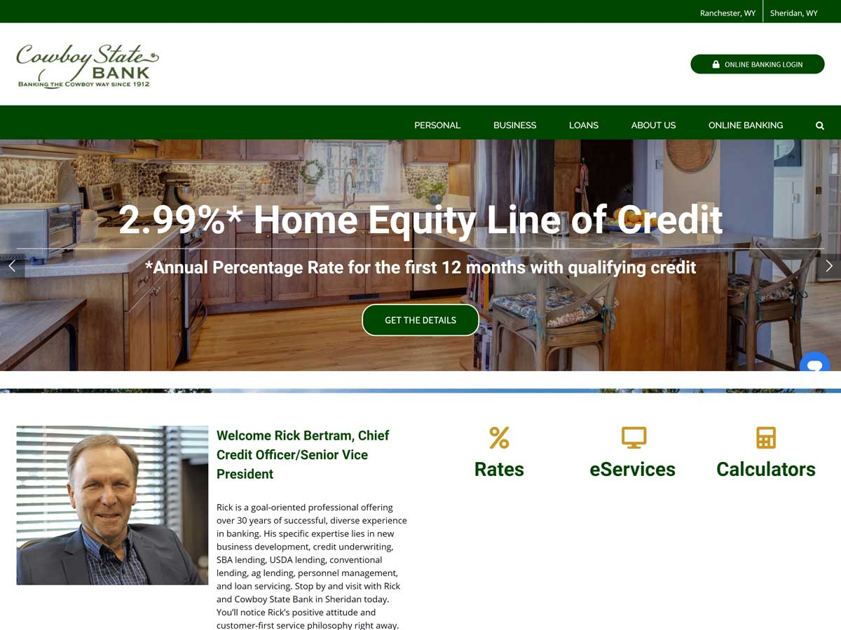 Cowboy State Bank website created by Confluence Collaborative