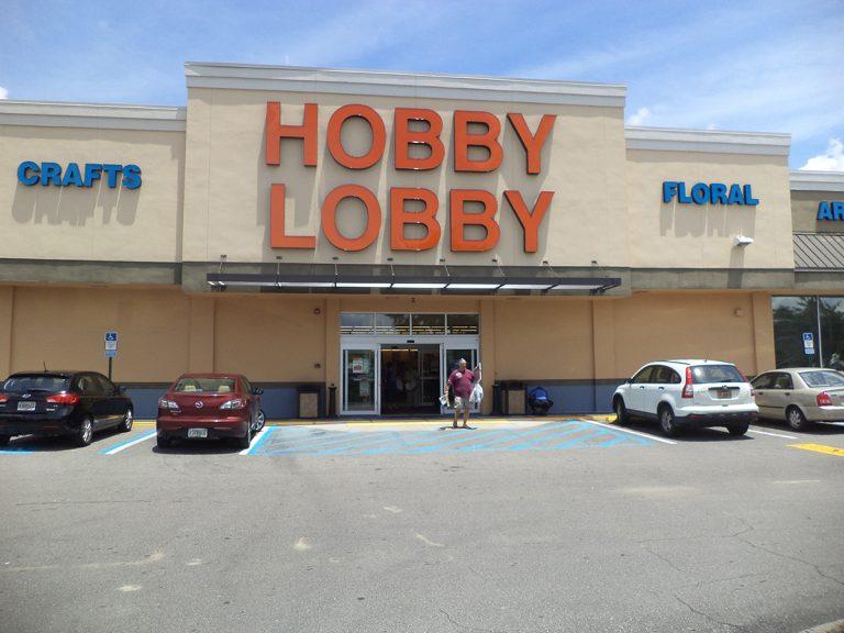 Hobby Lobby exterior building signs in Austin, Texas
