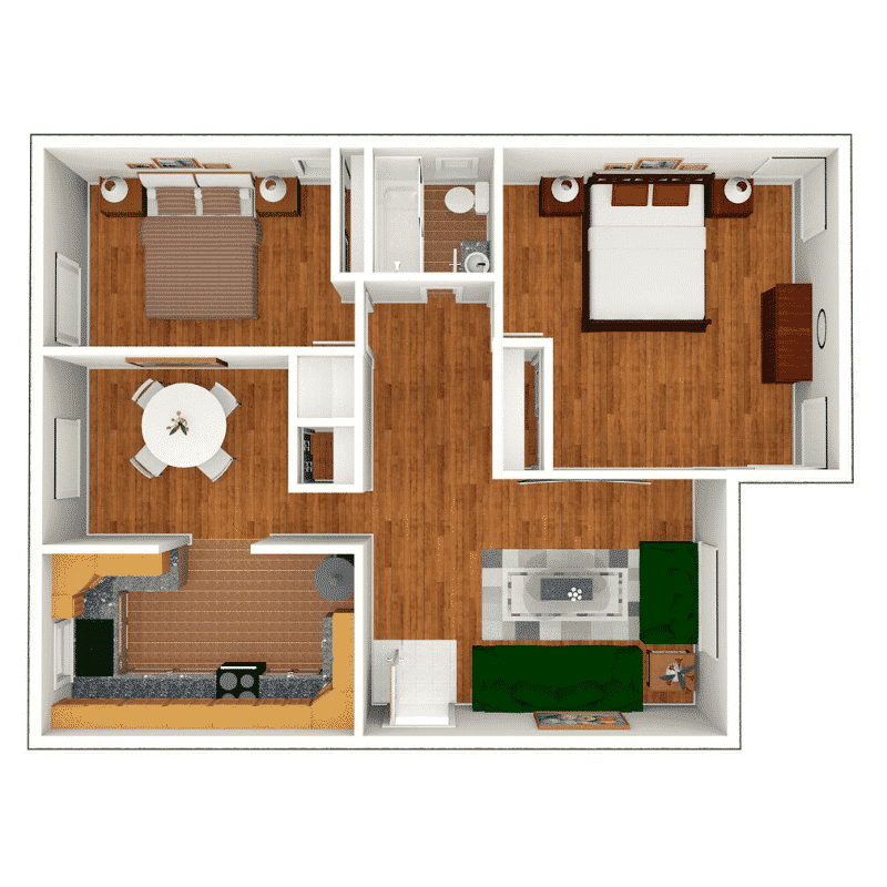2 bed 1 bath floor plan