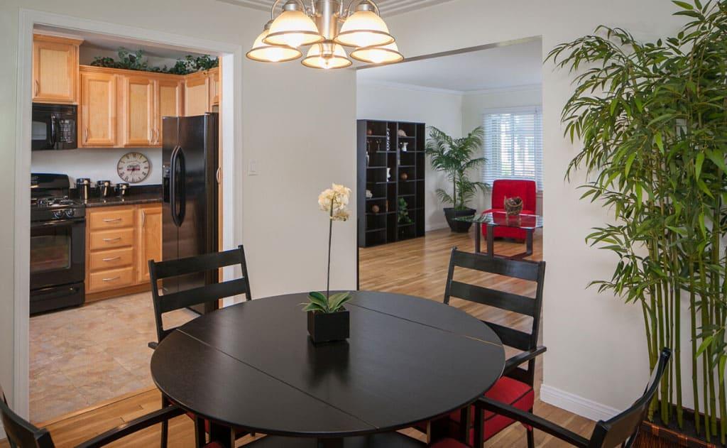 Spacious floorplans with wood-like flooring
