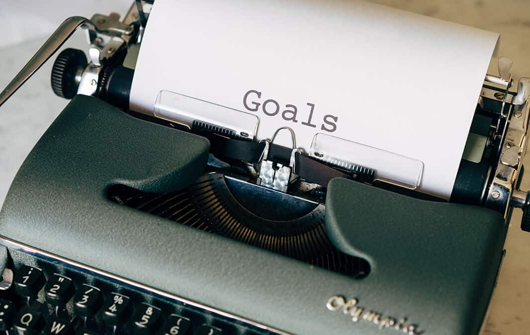 typewriter with the word goals