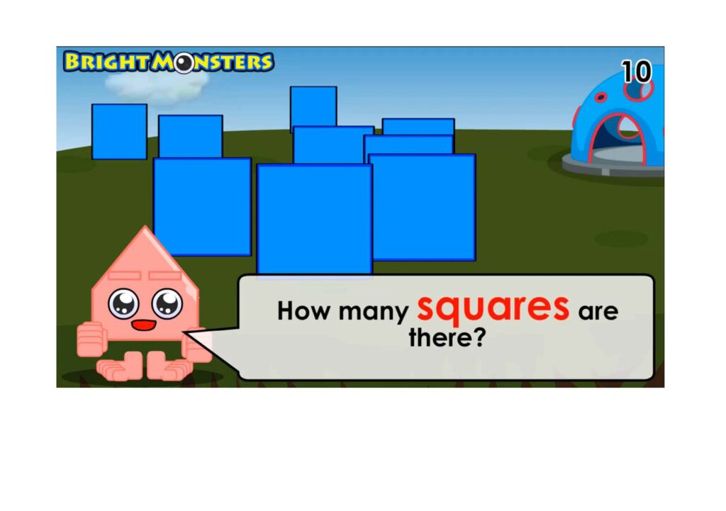 Bright Monsters - Counting 9 squares.