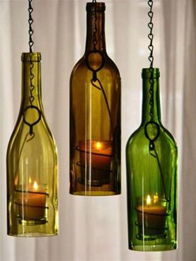 Turning wine bottles into decorative candle holders
