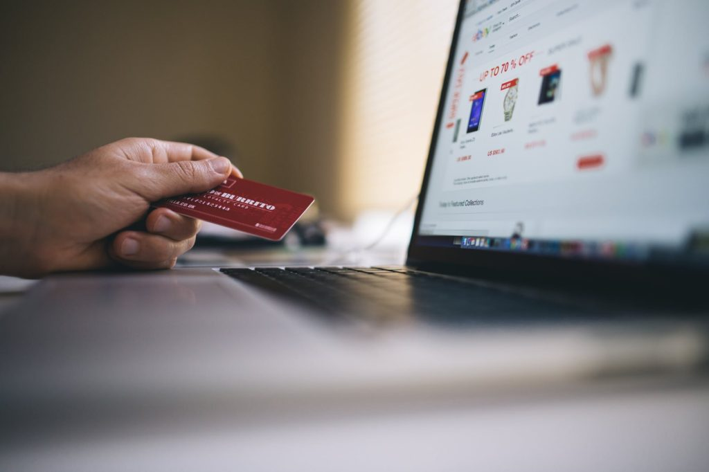 shopping online paying with credit card