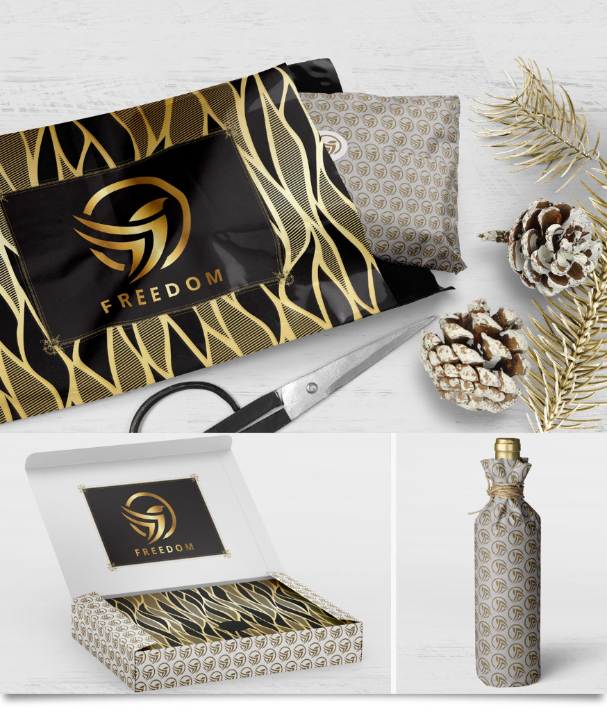 Custom printed e-commerce packaging for the holiday season.