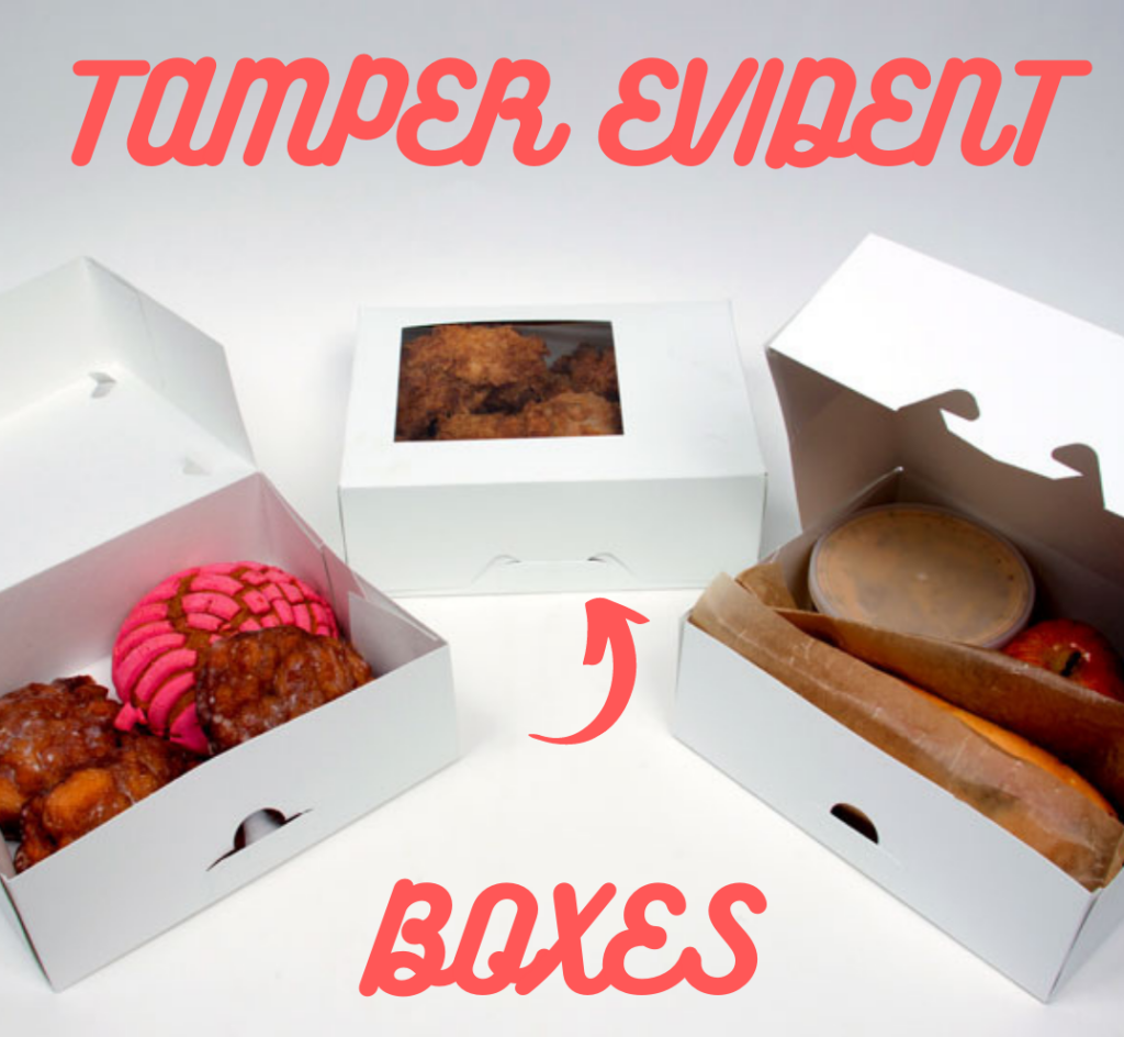 White paperboard tamper evident food boxes
