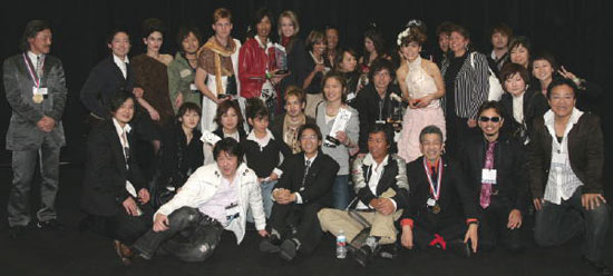 The Hikari IBIN cutting team, lead by Kazuyoshi Takahashi, celebrate after winning most of the hair competitions at Beauty Revolution, 2007 in Los Angeles! Many of Hikari's innovative designs are inspired by this world famous group of hair stylists.