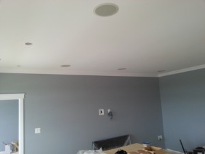 In-ceiling speakers mounted in finished ceiling
