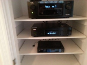 Denon AVR-X300 digital receiver, DBT1713 Blu-Ray player, Harmony Ultimate Hub and Roger's NextBox