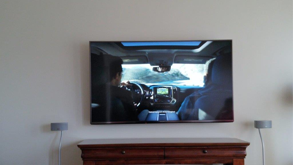 "Wall mounted 55"" Panasonic UHD TV"