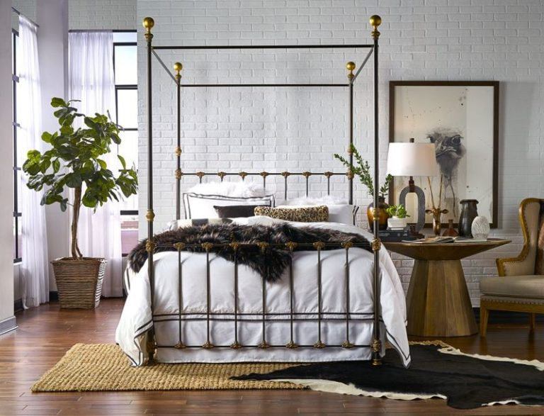 Trans Brown Distress Canopy Bed Brass is Back