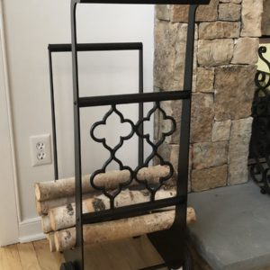801 Gold Gothic Fireplace Log Cart