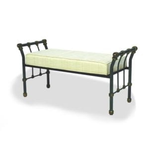 49″ Verde Distress Sleigh Iron Bench with upholstered cushion