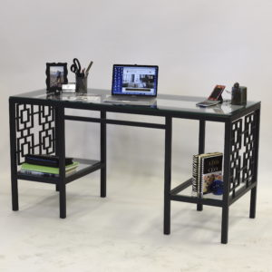 Charcoal Grey Square Iron and Glass Desk