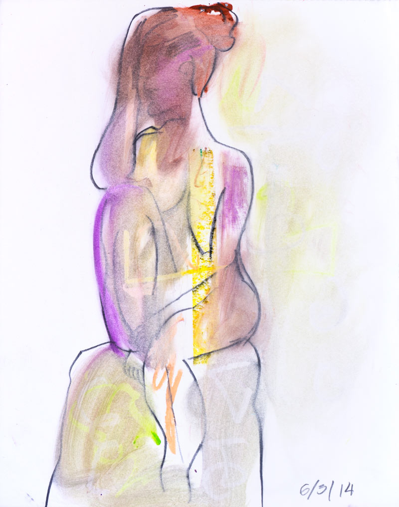 Figurative #2238, Graphite & Oil Pastel on Paper, 2014 © Dan Badgley. All rights reserved.