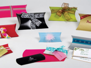Pillow boxes, gift card boxes, colors and prints