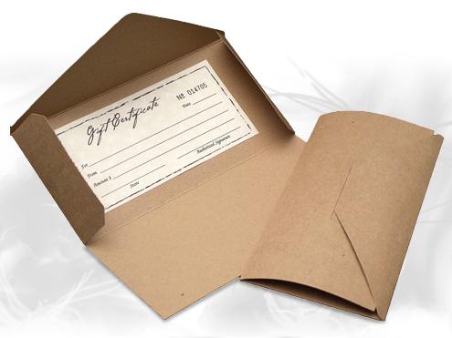 Natural kraft paper gift certificate folders