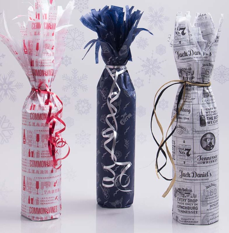 Tissue Paper Gift Wrapping with curled ribbon ties