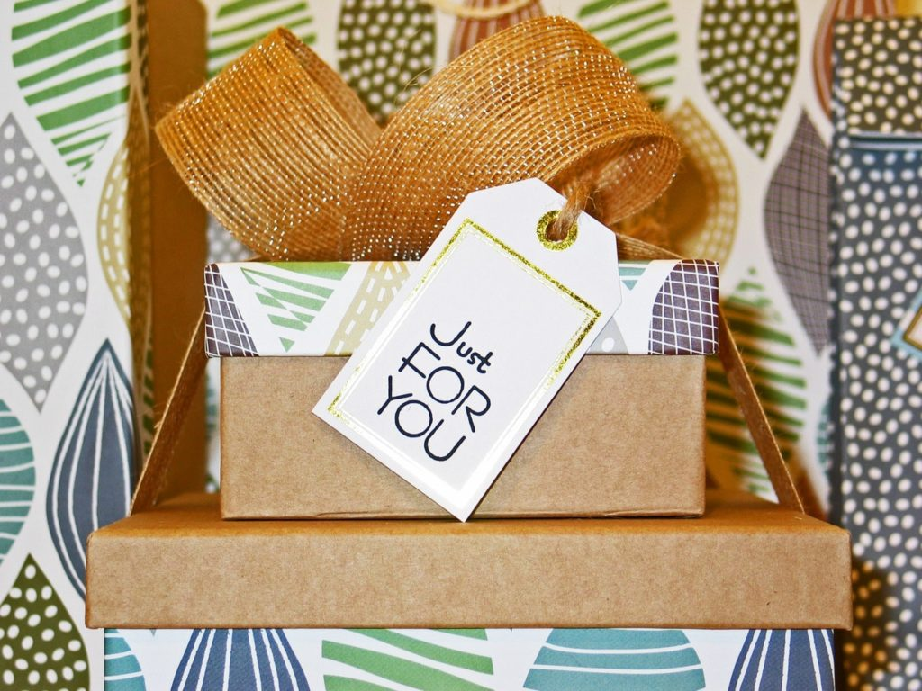 """Gift box with tag that says """"Just for you"""""""
