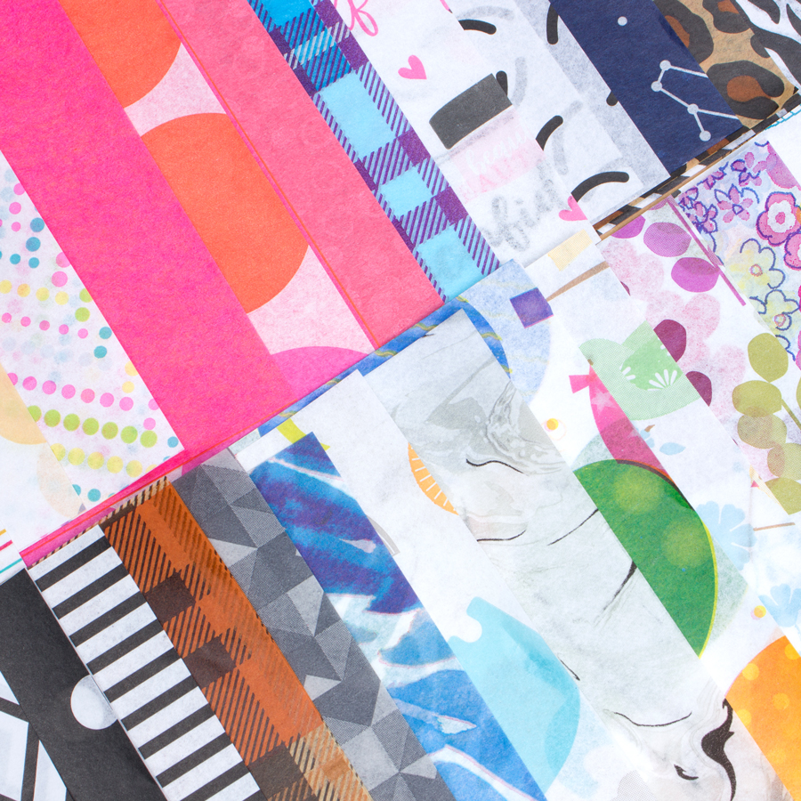 Colorful tissue paper designs