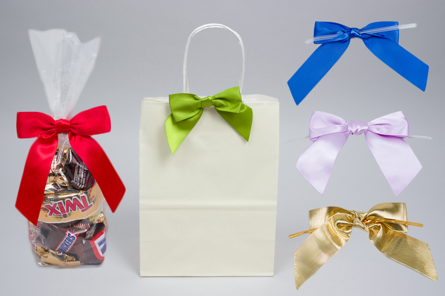 Twist tie bows for decorating packaging