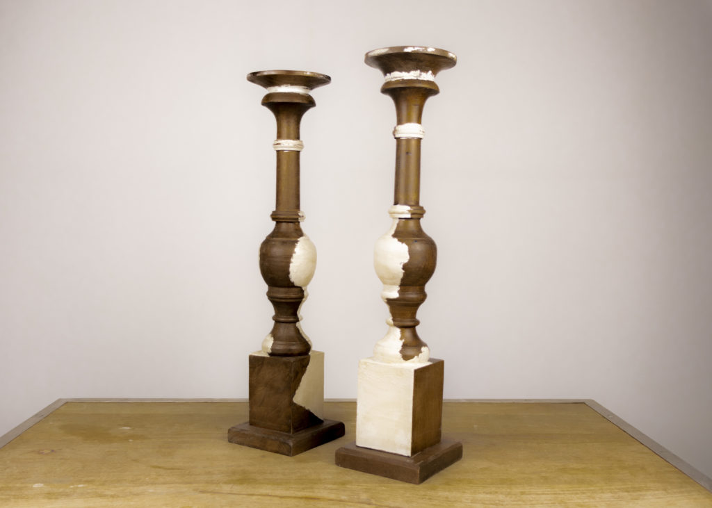 Pair of Mangowood Candleholders (Travel Together)