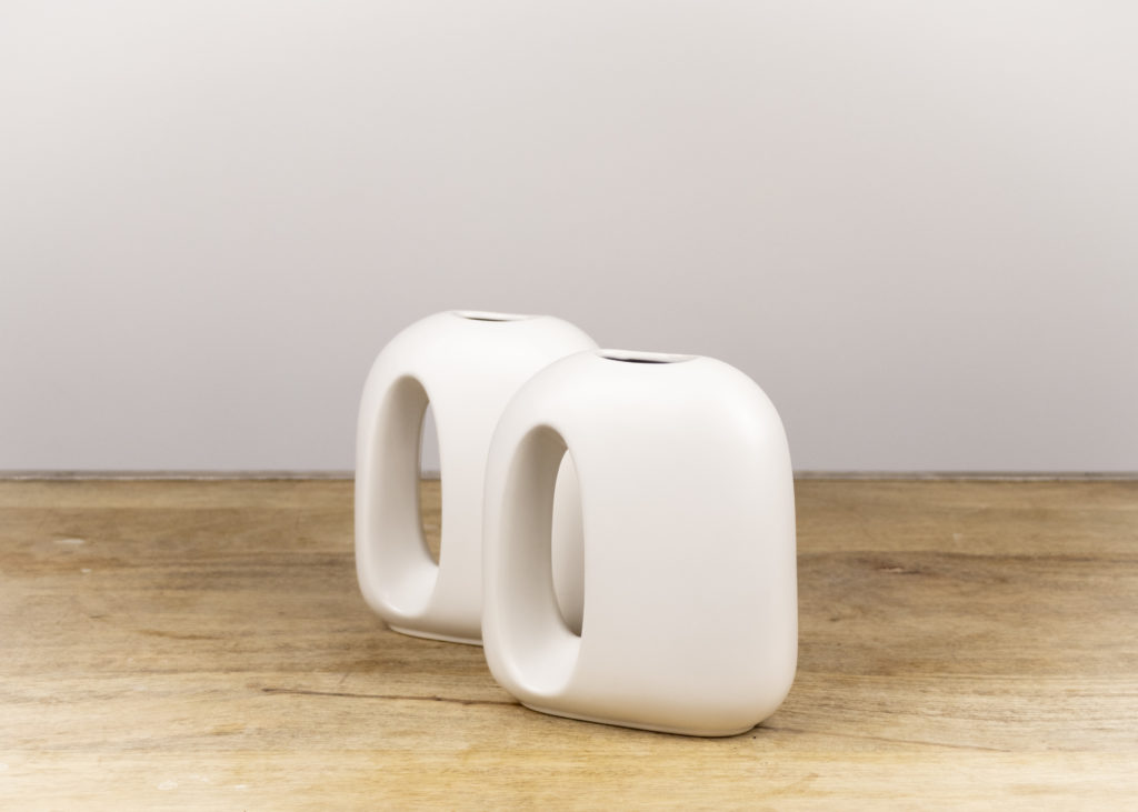 Pair of White Mod Vases (Travel Together)