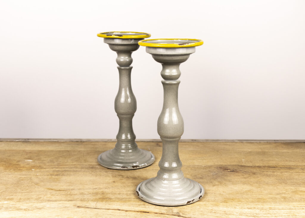 Pair of Dove Gray Candleholders (Travel Together)