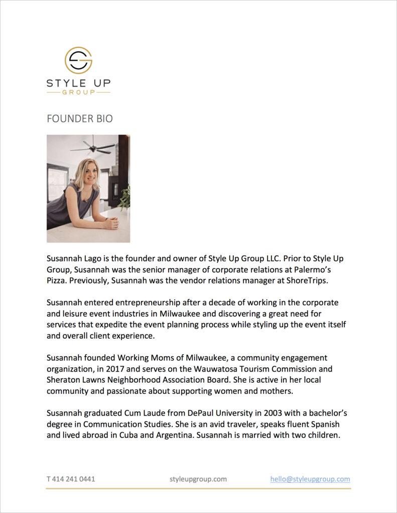 Founder Bio | Susannah Lago