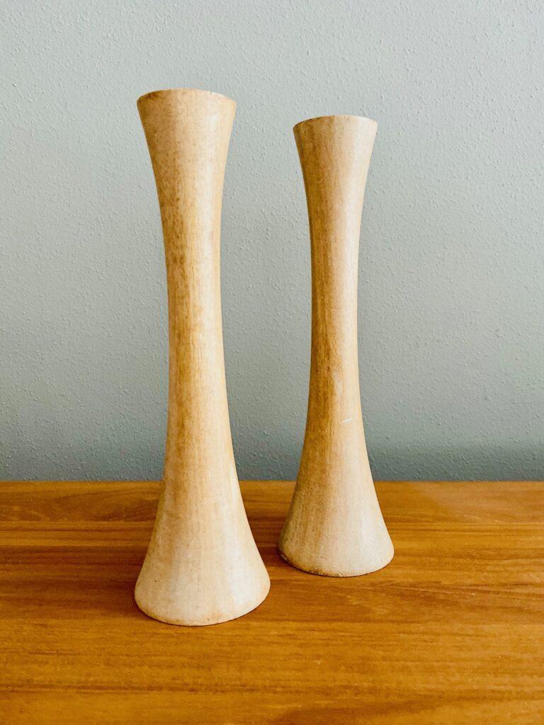 Pair of Neutral Wood Candlesticks