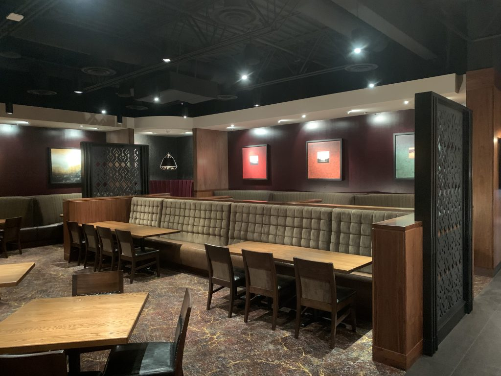Lights and speakers installed in a restaurant