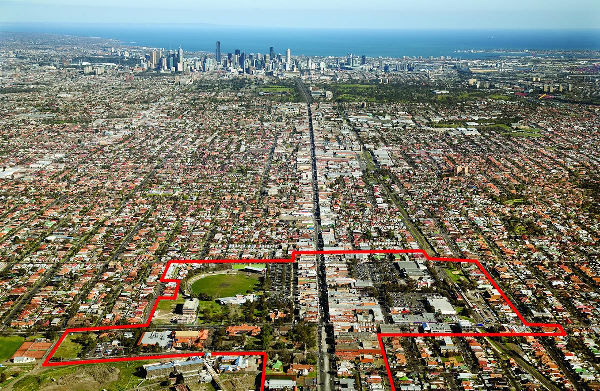01-CoburgInitiative_Oblique Aerial to city_A1 with site boundary