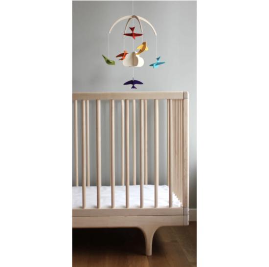 baby mobile and crib