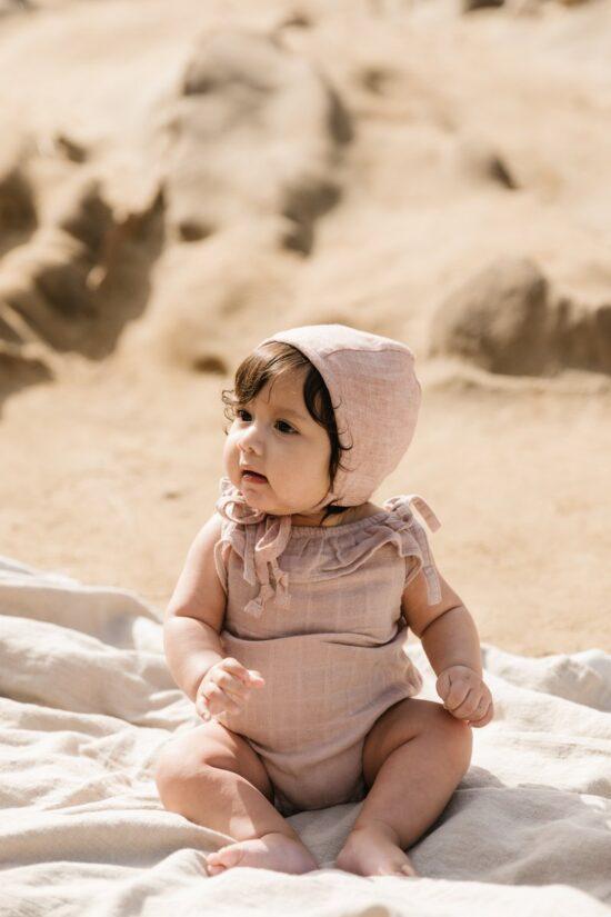 blush linen bonnet