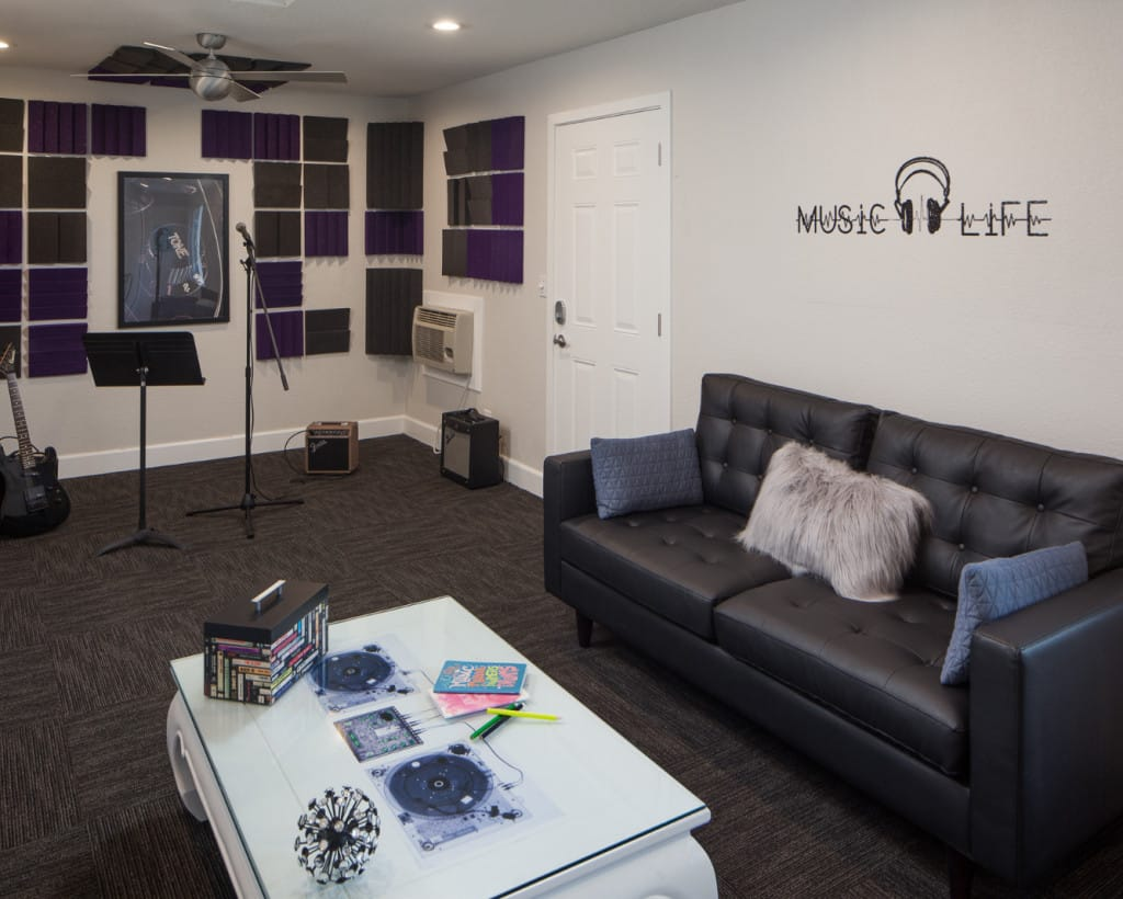 Music Room with musical instruments and black sofa