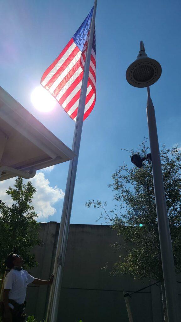 Flag pole installation
