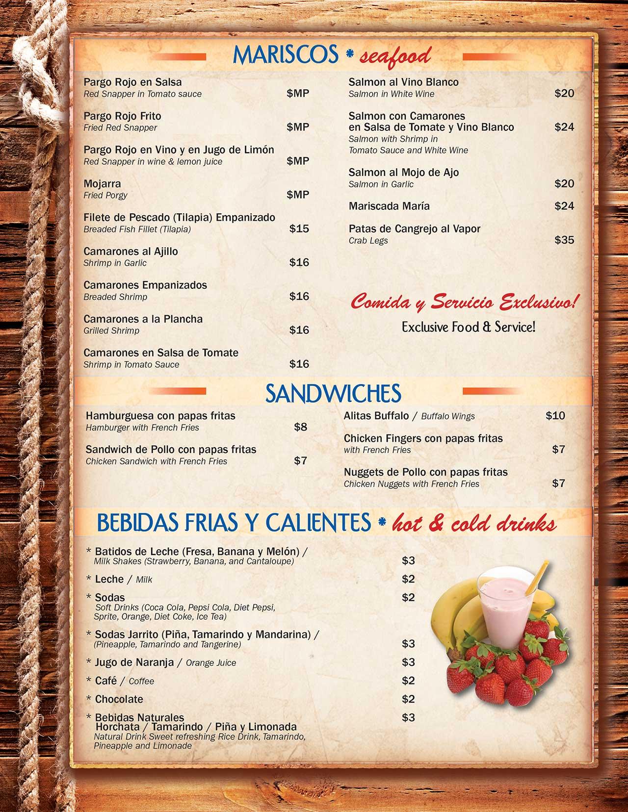 Puerto Barrios Menu Page 4