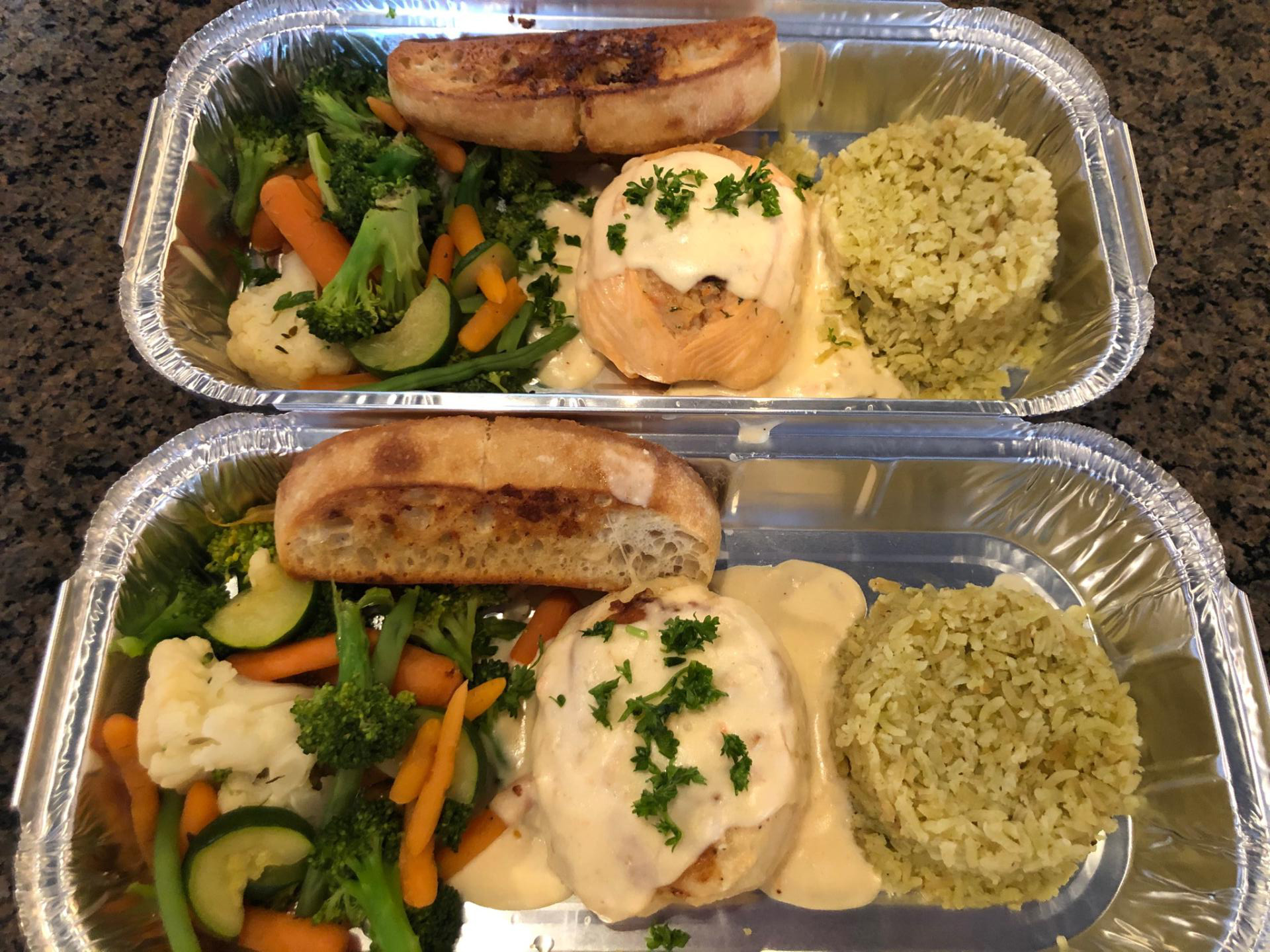 Stuffed Salmon or Sole with creamy lobster sauce