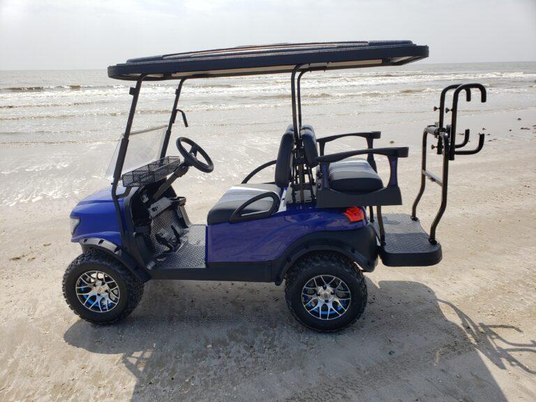 Blue Golf Cart with Alpha Body