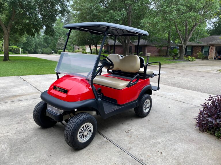 Red Golf Cart with Black Canopy