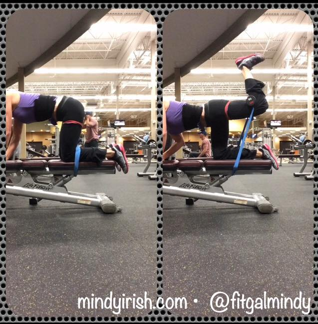 Dumbbell (DB) hip extensions for the glute and hamstrings; Add a band for extra resistance.
