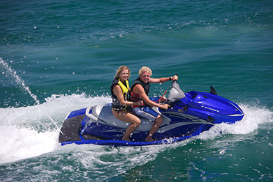 Tourists on rental jet ski in Marathon Florida Keys