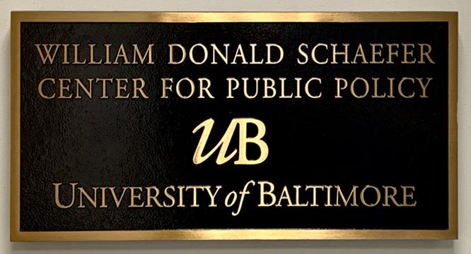 The Plaque from the Original Schaefer Center Building 1985