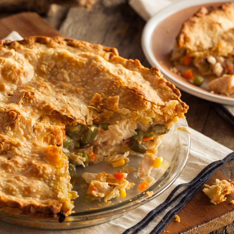 Photo of chicken pot pie cut to serve