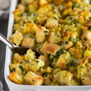 Photo of casserole dish containing cornbread stuffing for holiday meal