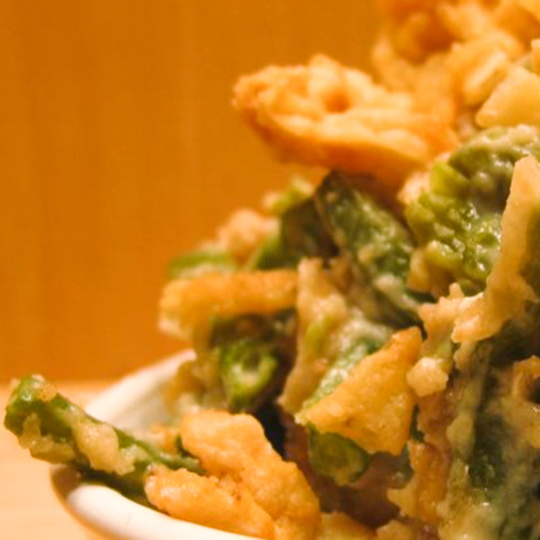 Closeup photo of green bean casserole for holiday meal