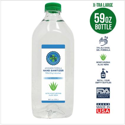 Hand Sanitizer Gel 59 OZ - 70% Alcohol w/ Aloe