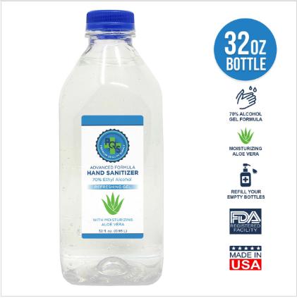 32 oz. Gel hand sanitizer 70% alcohol with moisturizing aloe