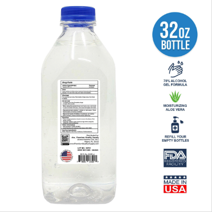 32 oz. Gel hand sanitizer 70% alcohol with moisturizing aloe back