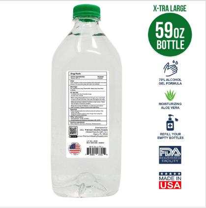 Hand Sanitizer Gel 59 OZ - 70% Alcohol w/ Aloe Back